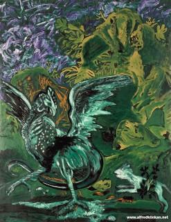 Aesopfabel, Wiesel und Basilisk, Öl auf Leinwand, 204x160