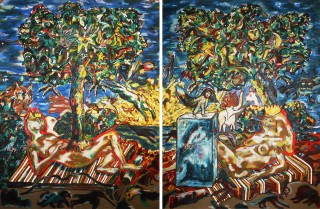 Dipthychon: Tod und Wiedergeburt (Hommage an Jan Cox und Antwerpen) 270x210 Öl/Leinwand